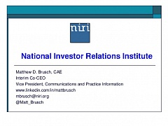 CFO & IRO Dialogue (Oct 20, 2016). Presentation 06 - NIRI (USA)